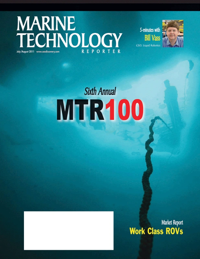 Cover of July 2011 issue of Marine Technology Reporter Magazine