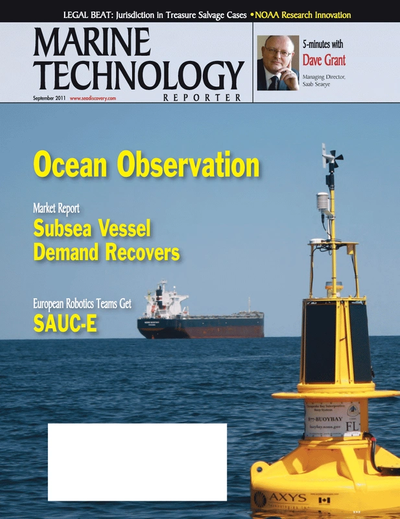 Cover of September 2011 issue of Marine Technology Reporter Magazine