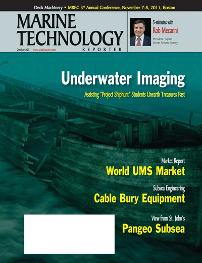 Cover of October 2011 issue of Marine Technology Reporter Magazine