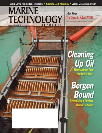 Cover of January 2012 issue of Marine Technology Reporter Magazine