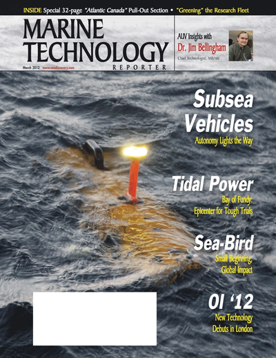 Cover of March 2012 issue of Marine Technology Reporter Magazine