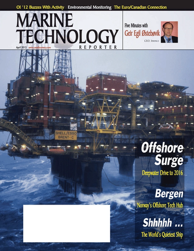 Cover of April 2012 issue of Marine Technology Reporter Magazine