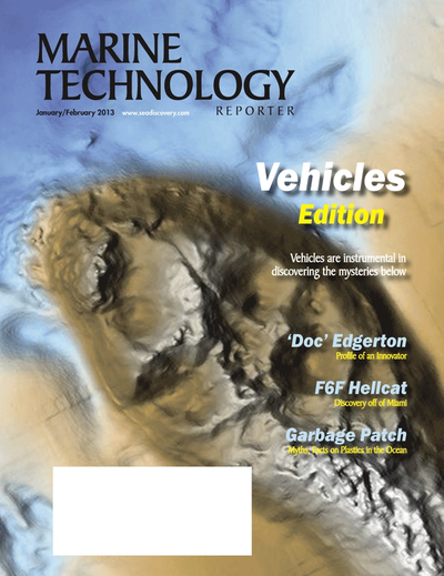 Cover of January 2013 issue of Marine Technology Reporter Magazine