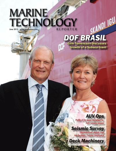 Cover of June 2013 issue of Marine Technology Reporter Magazine