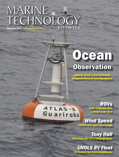 Cover of September 2013 issue of Marine Technology Reporter Magazine