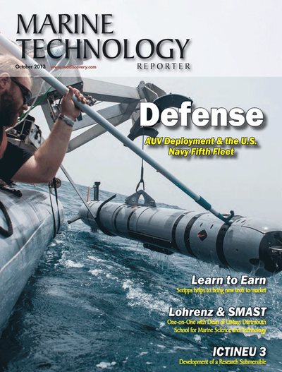 Cover of October 2013 issue of Marine Technology Reporter Magazine