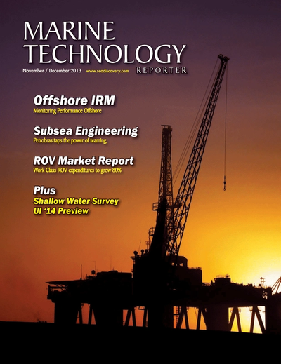 Cover of November 2013 issue of Marine Technology Reporter Magazine