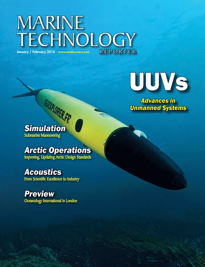 Cover of January 2014 issue of Marine Technology Reporter Magazine