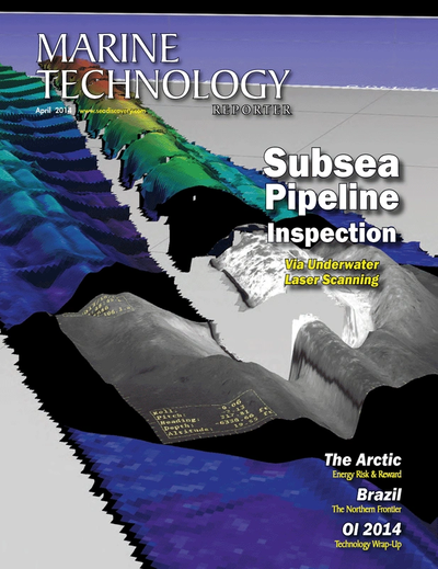 Cover of April 2014 issue of Marine Technology Reporter Magazine