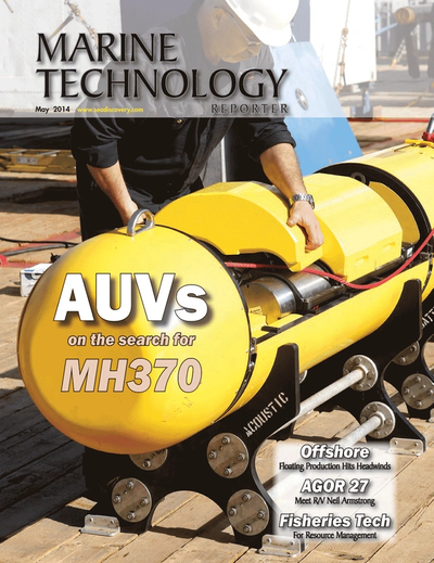 Cover of May 2014 issue of Marine Technology Reporter Magazine