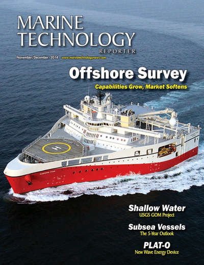 Cover of November 2014 issue of Marine Technology Reporter Magazine