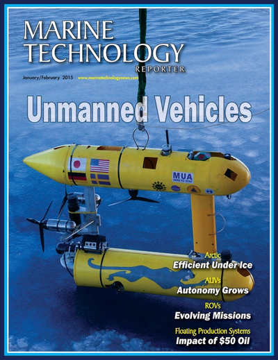 Cover of January 2015 issue of Marine Technology Reporter Magazine