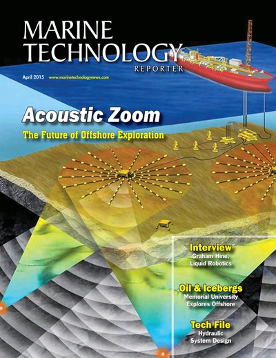 Cover of April 2015 issue of Marine Technology Reporter Magazine