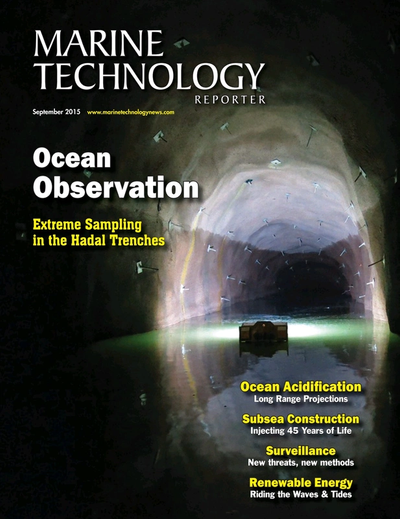 Cover of September 2015 issue of Marine Technology Reporter Magazine