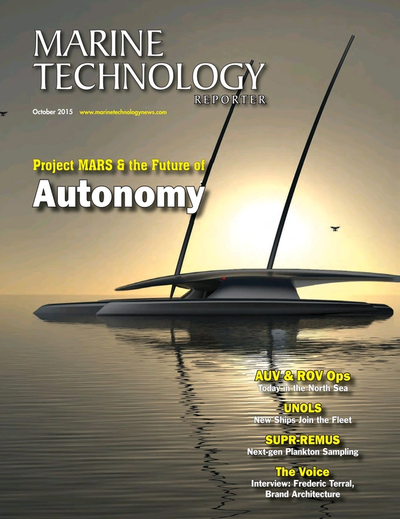 Cover of October 2015 issue of Marine Technology Reporter Magazine