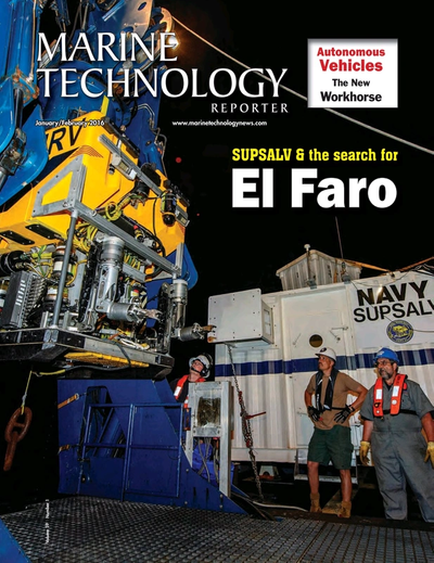 Cover of January 2016 issue of Marine Technology Reporter Magazine