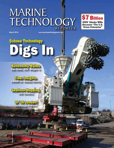 Cover of March 2016 issue of Marine Technology Reporter Magazine