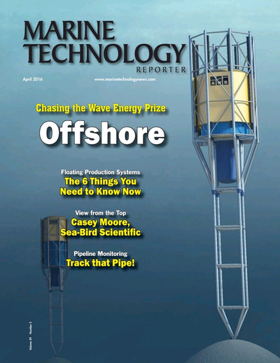 Cover of April 2016 issue of Marine Technology Reporter Magazine