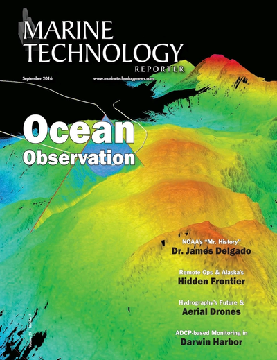 Cover of September 2016 issue of Marine Technology Reporter Magazine