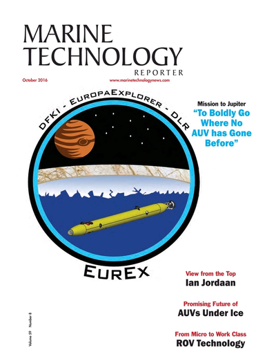 Cover of October 2016 issue of Marine Technology Reporter Magazine