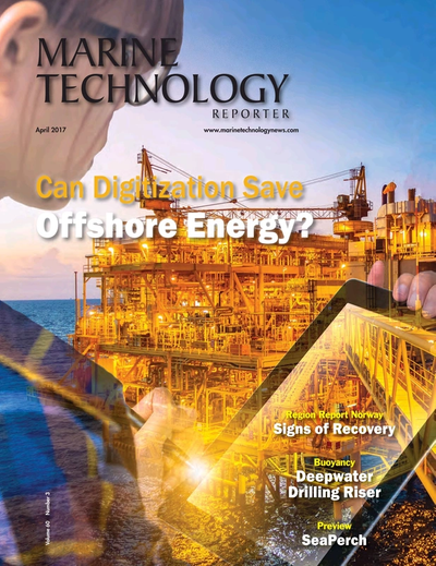 Cover of April 2017 issue of Marine Technology Reporter Magazine