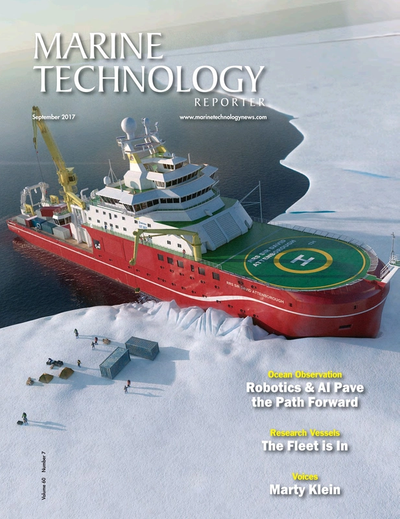 Cover of September 2017 issue of Marine Technology Reporter Magazine