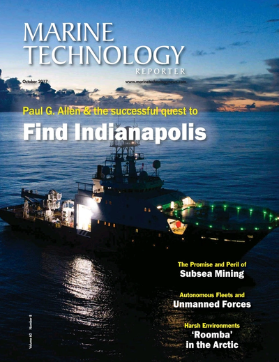 Cover of October 2017 issue of Marine Technology Reporter Magazine