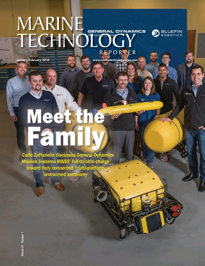 Cover of January 2018 issue of Marine Technology Reporter Magazine