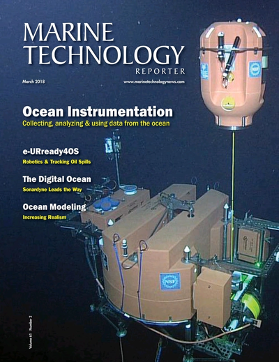 Cover of March 2018 issue of Marine Technology Reporter Magazine