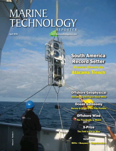 Cover of April 2018 issue of Marine Technology Reporter Magazine