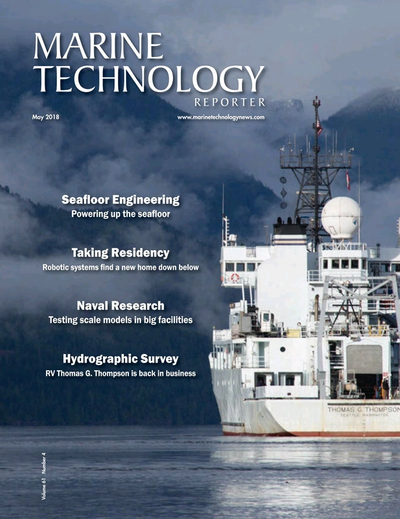 Cover of May 2018 issue of Marine Technology Reporter Magazine