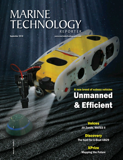 Cover of September 2018 issue of Marine Technology Reporter Magazine