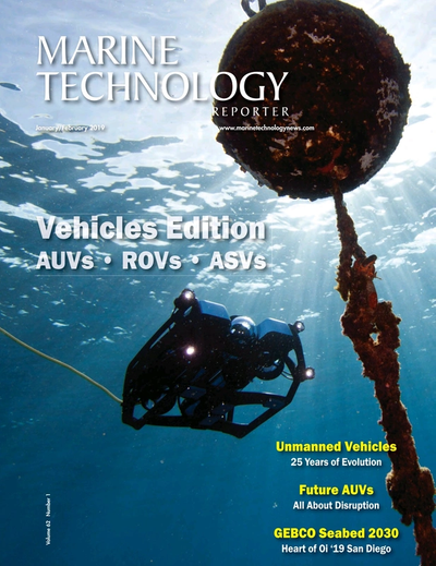 Cover of January 2019 issue of Marine Technology Reporter Magazine