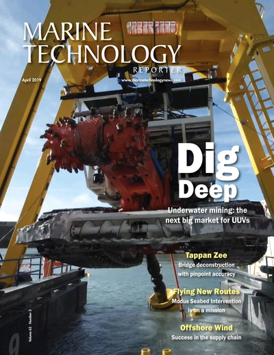 Cover of April 2019 issue of Marine Technology Reporter Magazine