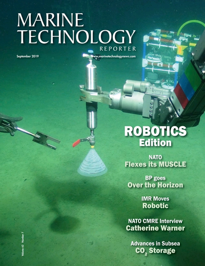 Cover of September 2019 issue of Marine Technology Reporter Magazine
