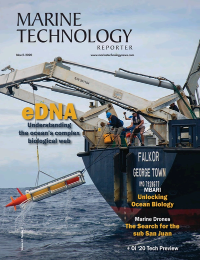 Cover of March 2020 issue of Marine Technology Reporter Magazine