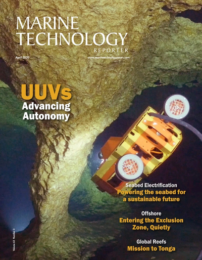 Cover of April 2020 issue of Marine Technology Reporter Magazine