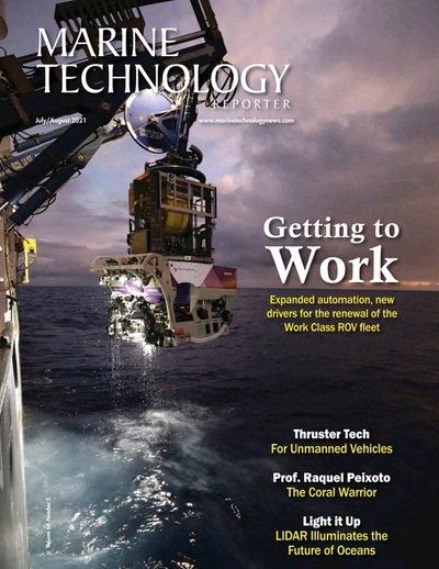 Cover of July 2021 issue of Marine Technology Reporter Magazine