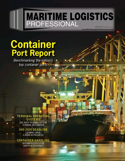 Cover of Mar/Apr 2019 issue of Maritime Logistics Professional Magazine