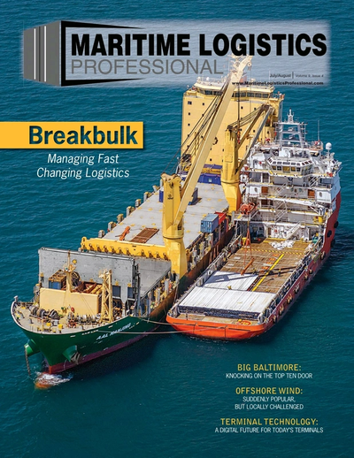 Cover of Jul/Aug 2019 issue of Maritime Logistics Professional Magazine