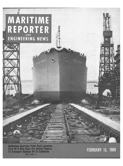 Cover of February 15, 1969 issue of Maritime Reporter and Engineering News Magazine