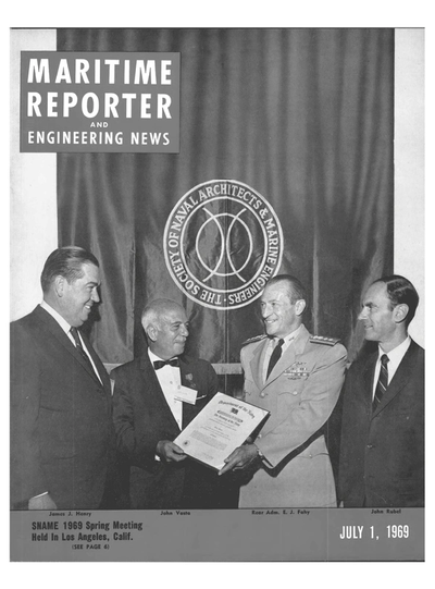 Cover of July 1969 issue of Maritime Reporter and Engineering News Magazine