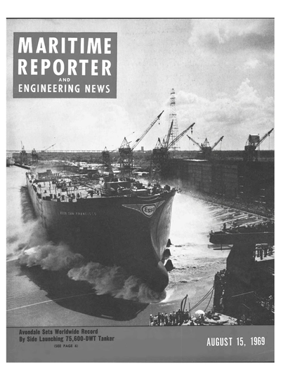 Cover of August 15, 1969 issue of Maritime Reporter and Engineering News Magazine