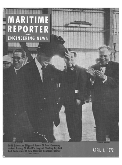 Cover of April 1972 issue of Maritime Reporter and Engineering News Magazine