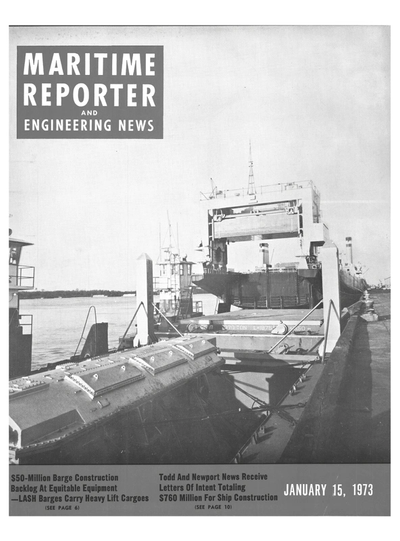 Cover of January 15, 1973 issue of Maritime Reporter and Engineering News Magazine