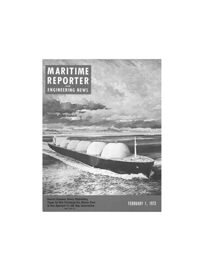 Cover of February 1973 issue of Maritime Reporter and Engineering News Magazine