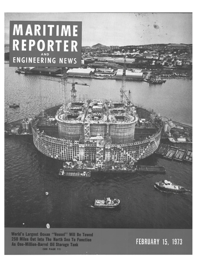 Cover of February 15, 1973 issue of Maritime Reporter and Engineering News Magazine