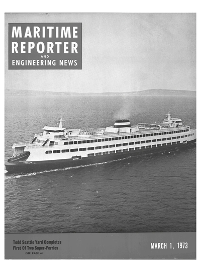 Cover of March 1973 issue of Maritime Reporter and Engineering News Magazine