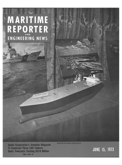 Cover of June 15, 1973 issue of Maritime Reporter and Engineering News Magazine
