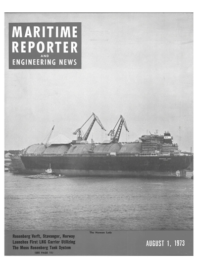 Cover of August 1973 issue of Maritime Reporter and Engineering News Magazine